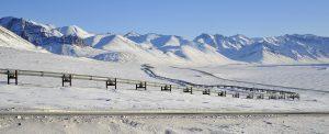Dalton highway and oil pipeline at Atigun pass